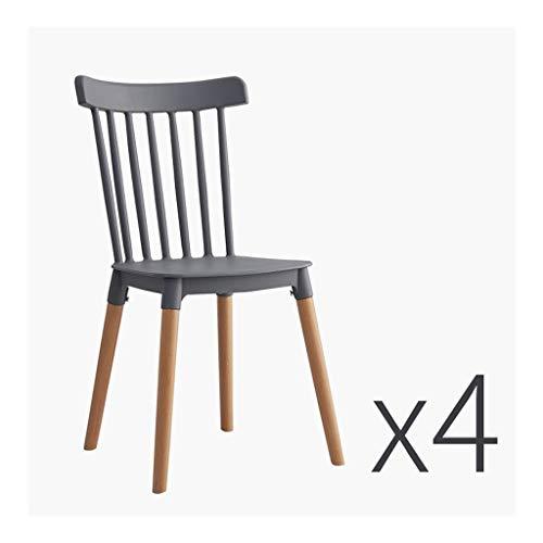 CHQYY Chaise - Plastic High Back CHAISE-Set de 4 chaises de loisirs avec 4 pieds en bois massif, Extérieur Extérieur jardin, terrasse et balcon arrière Chaises (Couleur : Gray)