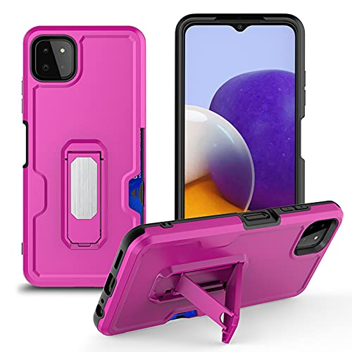 XYOUNG Funda para Samsung Galaxy A22 5G (6,4 pulgadas), 360° con soporte magnético para coche y clip para cinturón, color morado y rojo