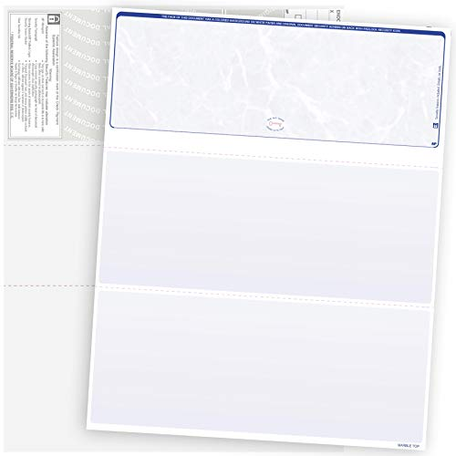 500 Blank Check Stock-Check on Top-Blue Marble Pattern-Compatible with Quickbooks,Quicken,Versacheck and More-(500 Laser Security Sheets-8.5''x11'' #24)-Made in USA with Pride!