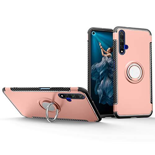 Botongda Funda Huawei Nova 5T,Cubierta de protección Antideslizante a Prueba de Golpes,Soporte de Anillo Giratorio de Metal Giratorio de 360 Grados para Huawei Nova 5T-Oro Rosa