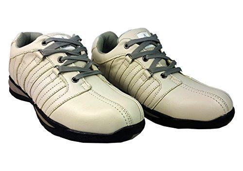 Botas de piel y de seguridad para el trabajo con puntera y tobillera de acero, para hombre, Blanco, UK 8 / EUR 42