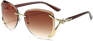 GODYS - Gafas de sol para hombre y mujer con marco redondo de metal y montura recortada, gafas de sol de moda de moda-Double_Tea_Slices_in_Gold_Frame