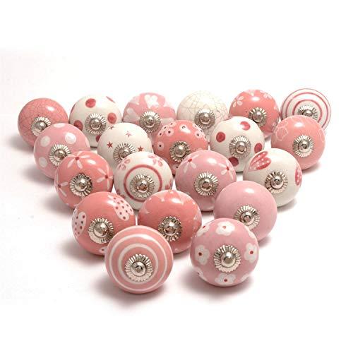 Hochwertige Keramik-Türgriffe - Verschiedene 20 Keramikknöpfe in Rosa und Weiß, gemischte Designs, Schranktürknöpfe, Schubladengriffe von The Boho Street.
