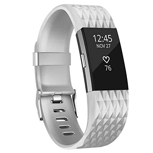 Adepoy Kompatabel mit Fitbit Charge 2 Armband, Verstellbare Weiches Silikon Sport Ersatzarmband für Charge 2 (Silber, Klein)