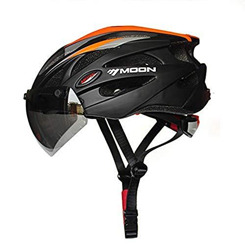Heemtle Integral geformt Radhelm für Racing Ultraleicht Fahrradhelm für Männer und Frauen Fahrradhelm mit Magnetbrille (schwarz + Orange L:58-63cm)