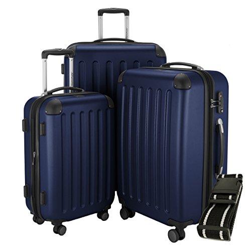 Hauptstadtkoffer - Spree - 3er-Koffer-Set Trolley-Set Rollkoffer Reisekoffer-Set Erweiterbar, TSA, 4 Rollen, (S, M & L), Dunkelblau +Gepäckgurt