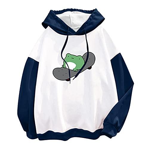 Tekaopuer Sudaderas con capucha para mujer, linda rana, estampado de monopatín, sudadera de manga larga con capucha con cordón y bolsillo de la camisa superior ligera, Z1-azul, L