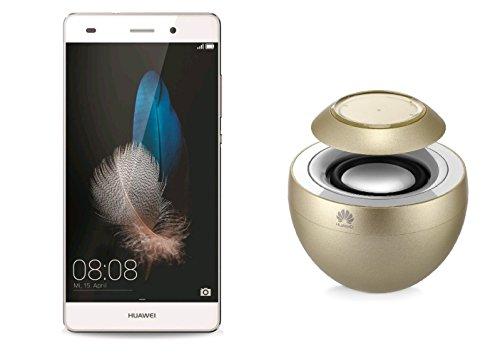 Huawei P8 Lite-AM08 - Pack Smartphone Huawei P8 Lite blanco con Altavoz portátil AM08 Gold (2 GB de RAM, 16 GB de memoria interna, cámara 13 Mpxs/8Mpx), color blanco