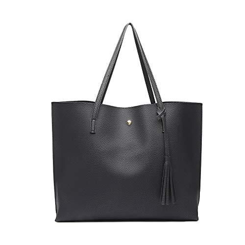 Miss Lulu Bolsos de moda para mujer Cuero PU Asa superior Bolsa de asas Hombro Satchel Bag (Negro)