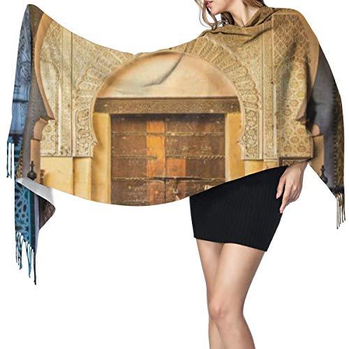 Bufanda Fringe Cachemira de imitacion Chal Mujer Puerta tipica marroqui a la antigua Medina Foto de entrada del arco historico mediterraneo Bufanda de invierno de Calido Grueso Otono Invierno