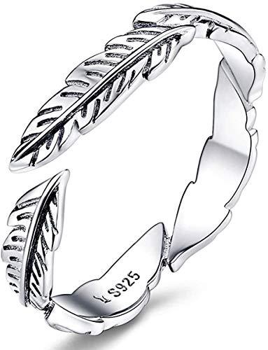 JTIAN - Anillo para mujer de plata 925, ajustable, anillo de pluma para eternidad, anillos para regalo de aniversario, compromiso o alianza