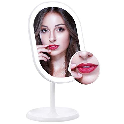 liaboe Espejo de Maquillaje con Luz LED Ajustable Espejo Aumento 10x Espejo Cosmético de Mesa con 3 Modos de Color Rotación de 180° Interruptor de Pantalla Táctil Recargable USB.