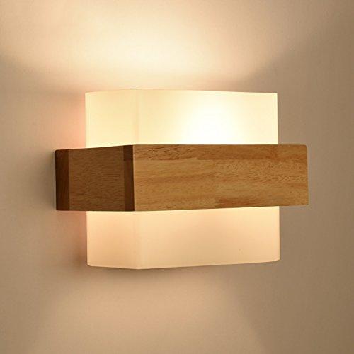 Good thing Wandleuchte Moderne minimalistische Glas Holz Wand Lampe Schlafzimmer Lampe Nachttisch Lampe Kreative Studie Wohnzimmer Balkon Treppenlicht