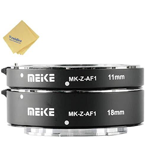 Meike MK-Z-AF1, Tubi di Prolunga Estensione Macro Nikon Z Autofocus AF Lens Mount adattatore per Nikon Z-Mount Z6 Z7 Fotocamera Mirrorless per Fotografia, Metal, Black(11 mm + 18 mm)