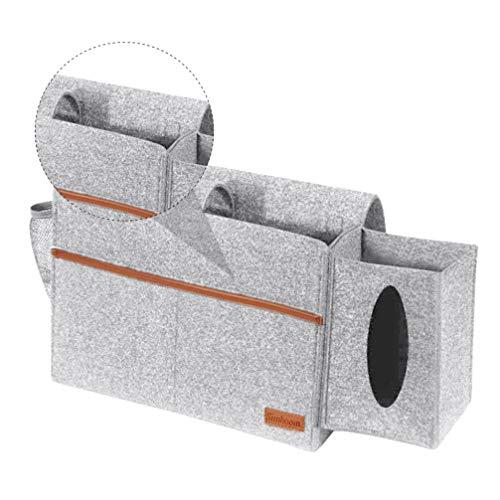Cabilock Felt Bedside Bag Mattress Sofa Table Bed Storage Caddy Tissue Dispenser Holder Hanging Sundries Organizer for Home Grey
