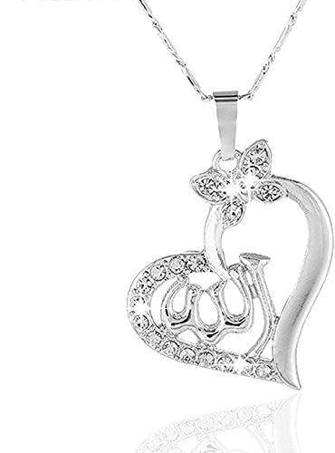 WYDSFWL Collar Mujer Collar Hombre Colgante Mujer árabe en Forma de corazón Dorado musulmán Dios musulmán Allah Charm Colgante Collar joyería Ramadan Gift Collar Regalo para niña Joven