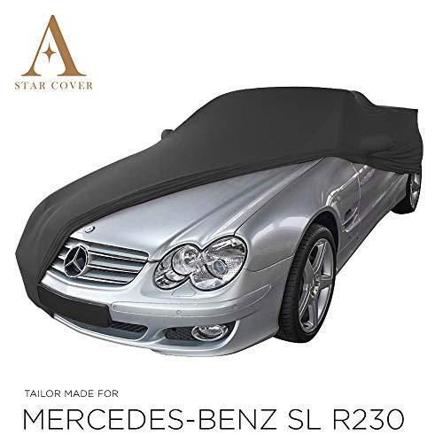 AUTOABDECKUNG SCHWARZ PASSEND FÜR Mercedes-Benz SL-Class R230 MIT SPIEGELTASCHEN INNEN SCHUTZHÜLLE ABDECKPLANE SCHUTZDECKE VOLLGARAGE Cover
