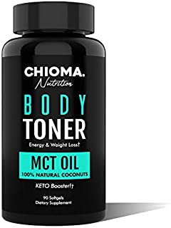 Body Toner- Natural Fat Burner Appetite Control MCT Oil Capsules from Organic Coconuts