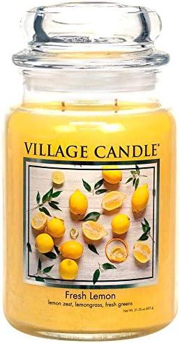 Village Candle Fresh Lemon 26 oz Glass Jar Scented Candle Large product image