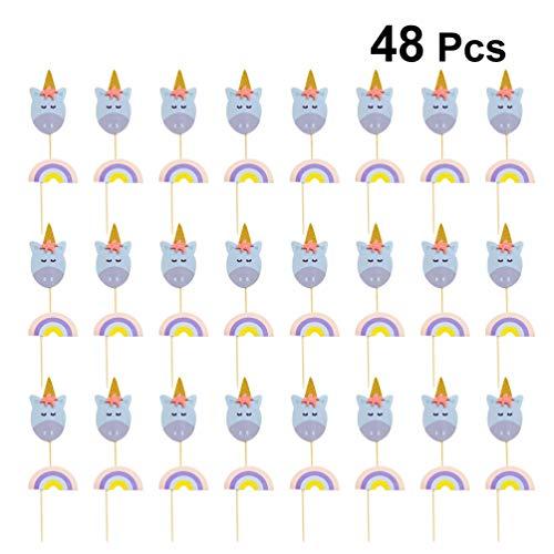 Amosfun 48pcs Eenhoorn Cake Topper Regenboog Papier Eenhoorn Cupcake Pick Tafel Dessert Fruit Ornament voor Baby Douche Verjaardagsfeest