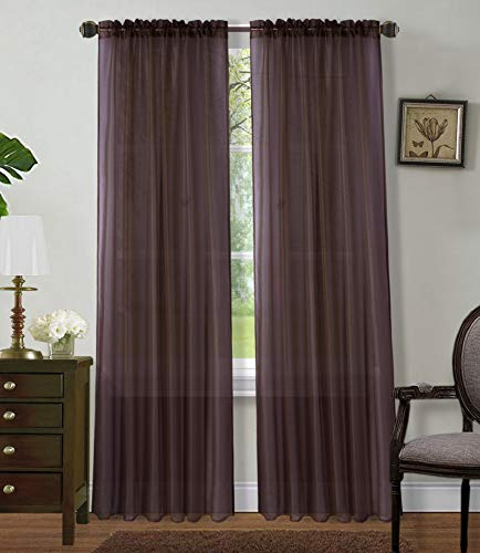 """2 Panels Window Sheer Curtains 54"""" x 84"""" Inches (108"""" Total Width), Voile Panels for Bedroom Living Room, Rod Pocket, Decorative Curtains, Solid Sheer Brown"""