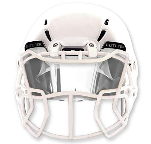 EliteTek Clear Vision Football Visor Facemask Eye-Shield - Universal FIT- All Helmet Brands Youth, Kids and Adults (Clear)