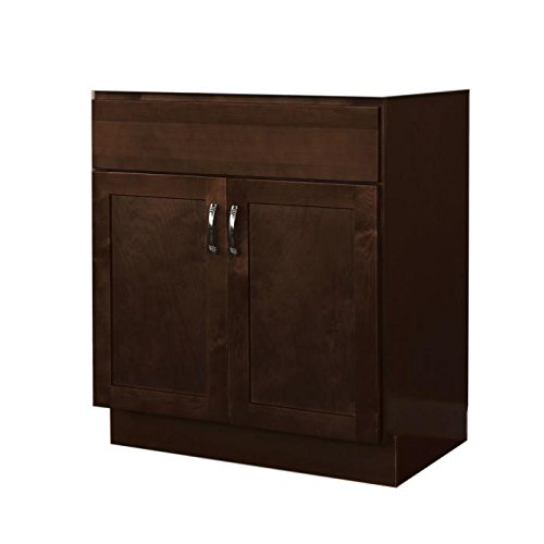 "JSI Amesbury 30"" Two Door Solid Maple Frame Single Espresso Vanity -Cabinet Only"