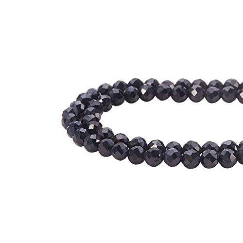 PandaHall Elite Circa 400pcs Perline di spinello Nero Naturale sfaccettate Rotondo per Fare Gioielli, 2mm, Foro: 0,5 mm