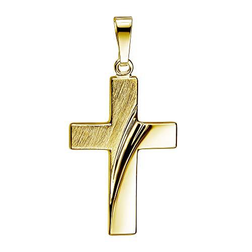 JEVELION Anhänger-Kreuz Goldkreuz für Damen, Herren und Kinder als Design Kettenanhänger 585 Gold 14 Karat