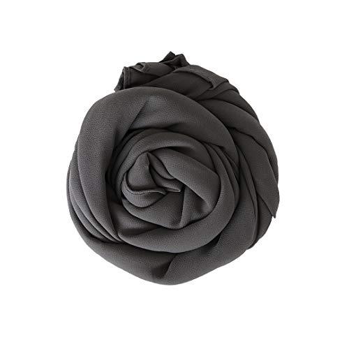 MR Modesty Room Chiffon Hijab Kopftuch in Dunkelgrau Hidschab Schal Schaltuch Haartuch Für Muslimische Frauen Islamische Kopfbedeckung Stirnband Daily Bandana Turbanmütze Headwrap