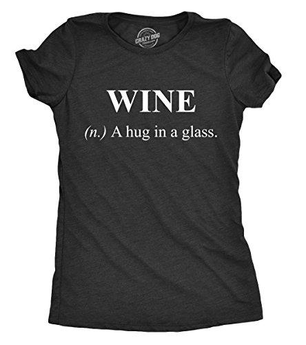 Crazy Dog Tshirts - Womens Wine A Hug In A Glass Tshirt Funny Drinking tee For Ladies (Heather Black) - XXL - Camiseta para Mujer