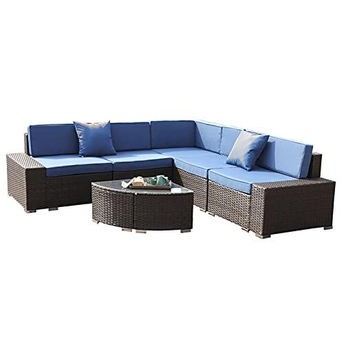 Conjuntos de Muebles de Patio 1 Conjuntos Muebles de Exterior 6 Piezas Rattan All-Tiempo Mimbre Securaciones Grupo de Asientos con Cojines por CHENGYSTE (Color : Blue)