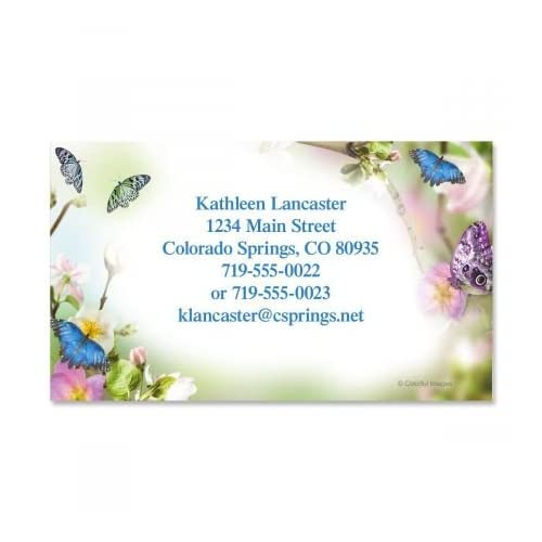 """Butterfly Delight Business Cards - Set of 250 2"""" x 3-1/2"""" custom business card design; 80# Cover Stock, Opaque, Matte"""