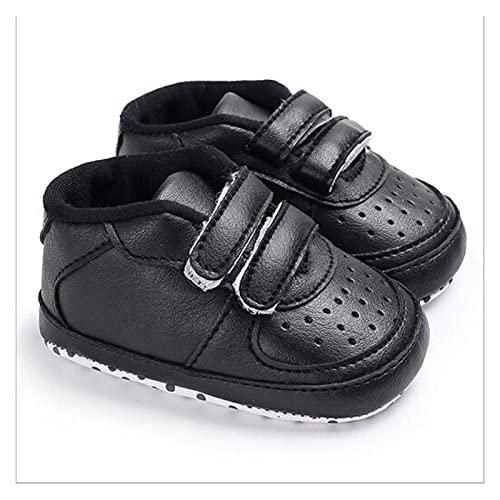 FURONGWANG6777BB Zapatos de cuna para bebé y niña, suela suave, antideslizantes para recién nacidos, zapatos de bebé de 0 a 18 m (color: negro, tamaño: 6 a 12 meses)