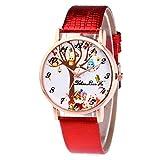 Reloj De Patrón De Árbol De Tira De Cuero De Muñeco De Nieve De Papá Noel Reloj De Cuarzo para Mujer De Navidad Rojo