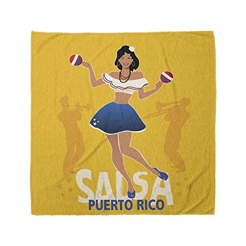 Lunarable Unisex Bandana, Puerto Rico Salsa Girl Maracas, Multicolor