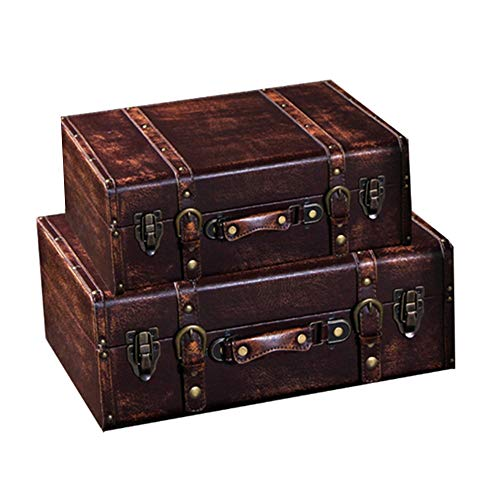 Dfghbn Decorative Treasure Box Wooden Treasure Chests Storage Box Wooden Suitcase Luggage Decoration Ornaments (Color, Size : 2pcs)