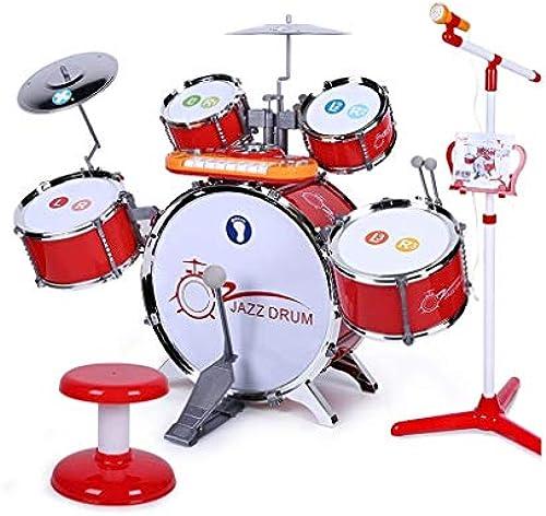 LINGLING-Trommel Kinder Drum Toy Größe Anf er Jazz Drum Music Toy Geschenk Früherziehung Puzzle (Farbe   Rot)