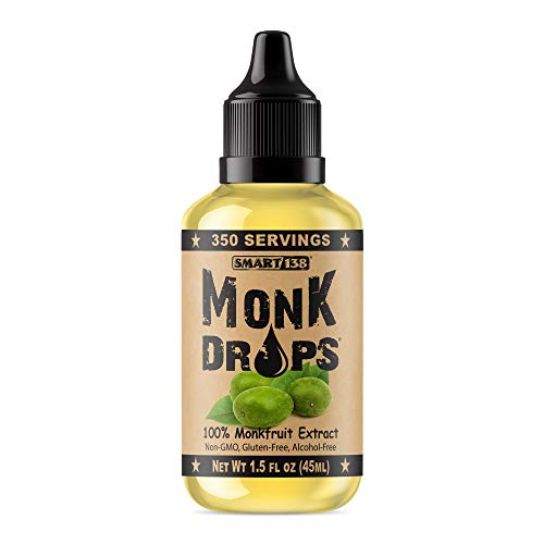 Monk Drops - 100% Monkfruit Liquid Sweetener, Zero Glycemic, Zero Calories, Zero Sugar, No Added Water, Concentrated Monk Fruit (350 Servings), 1.5 Fl Oz (Pack of 1)