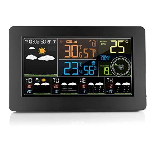 Wangcong Farbbildschirm Multifunktionale Wettervorhersageuhr W4 Wettervorhersage elektronischer Wecker Innen- und Außentemperatur,Luftfeuchtigkeit und Windgeschwindigkeit