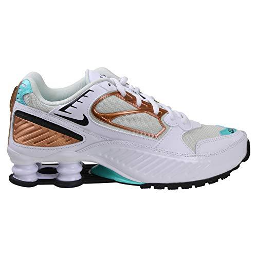 Nike W Shox Enigma - Scarpe da Ginnastica, Colore: Bianco/Nero Aurora Gree, Misura: 11,5
