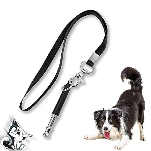 Dog Whistle with Free Lanyard, Dog Training Whistle with Lanyard for Dog Recall Repel Silent Training, Adjustable Frequencies Ultrasonic Stainless Steel Dog Training Whistle to Stop Barking(Black)