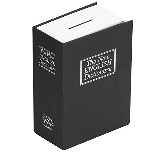 Caja de almacenamiento segura para libros de desviación, Mini libro de simulación Caja de almacenamiento segura Dinero Efectivo Joyas Caja de seguridad con cerradura con llaves