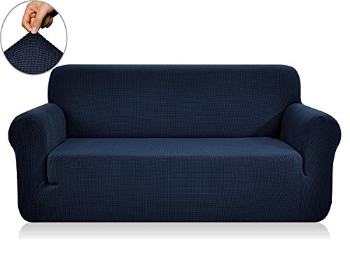 CHUN YI Stretch Loveseat Sofa Slipcover 1-Piece Couch Cover Furniture Protector,2 Seater Settee Coat Soft with Elastic Bottom,Checks Spandex Jacquard Fabric, Medium, Dark Blue