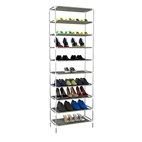 Plohee Shoe Rack 10-Tier Tall Shoe Storage for Closets & Entryway Non-Woven Fabric Shoe Shelf Tower Easy Assembly (10 Tiers)
