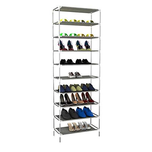 10 Tiers Shoe Rack - Non-Woven Shoe Tower Shoe Storage Organizer Unit Entryway Shelf Stackable Cabinet (Gray_10 Tiers)
