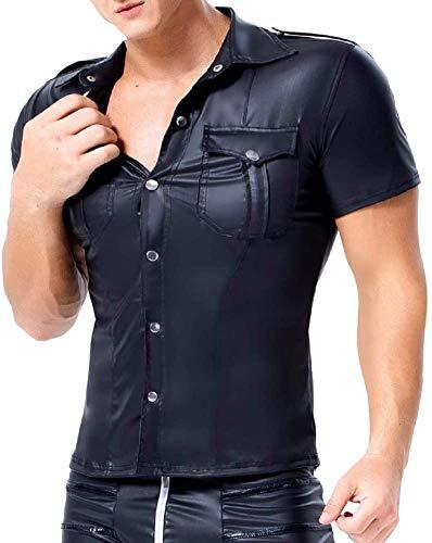 SWCEN Herren T-Shirt Leder Latex Shirt Tops Kurzarm Revers Versuchung Unterhemd Wetlook Übergröße Dessous Schwarz L