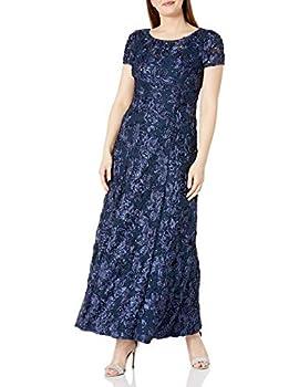 Alex Evenings Women s Long A-Line Rosette Dress Navy 12