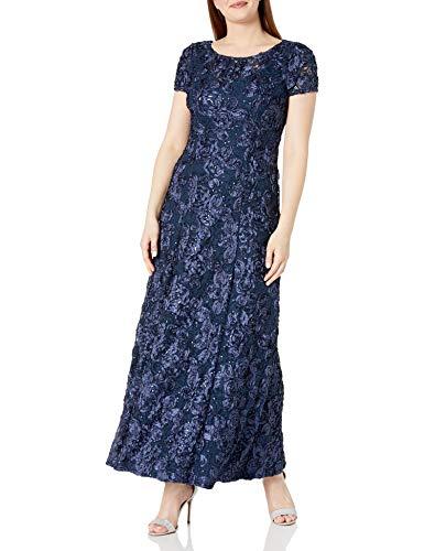 Alex Evenings Women's Long A-Line Rosette Dress, Navy, 8 (Apparel)