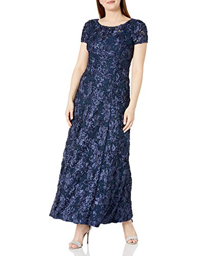 Alex Evenings Women's A-Line Rosette Sleeve Gown with Sequin Detail, Navy, 8 (Apparel)